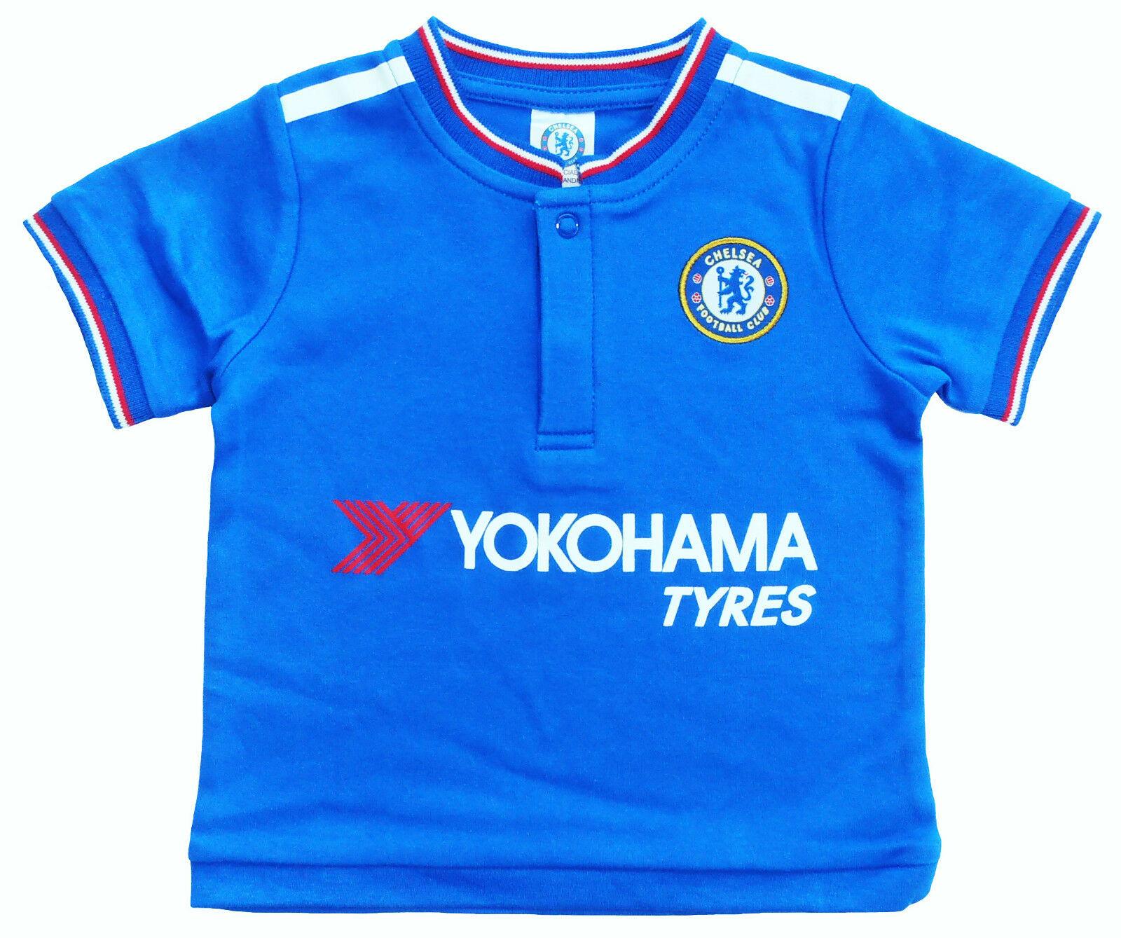 newest 16e16 06ac4 CHELSEA FC BABIES SHORT SLEEVED FOOTBALL T SHIRT JERSEY KIT TOP BABY  PRAMSUIT