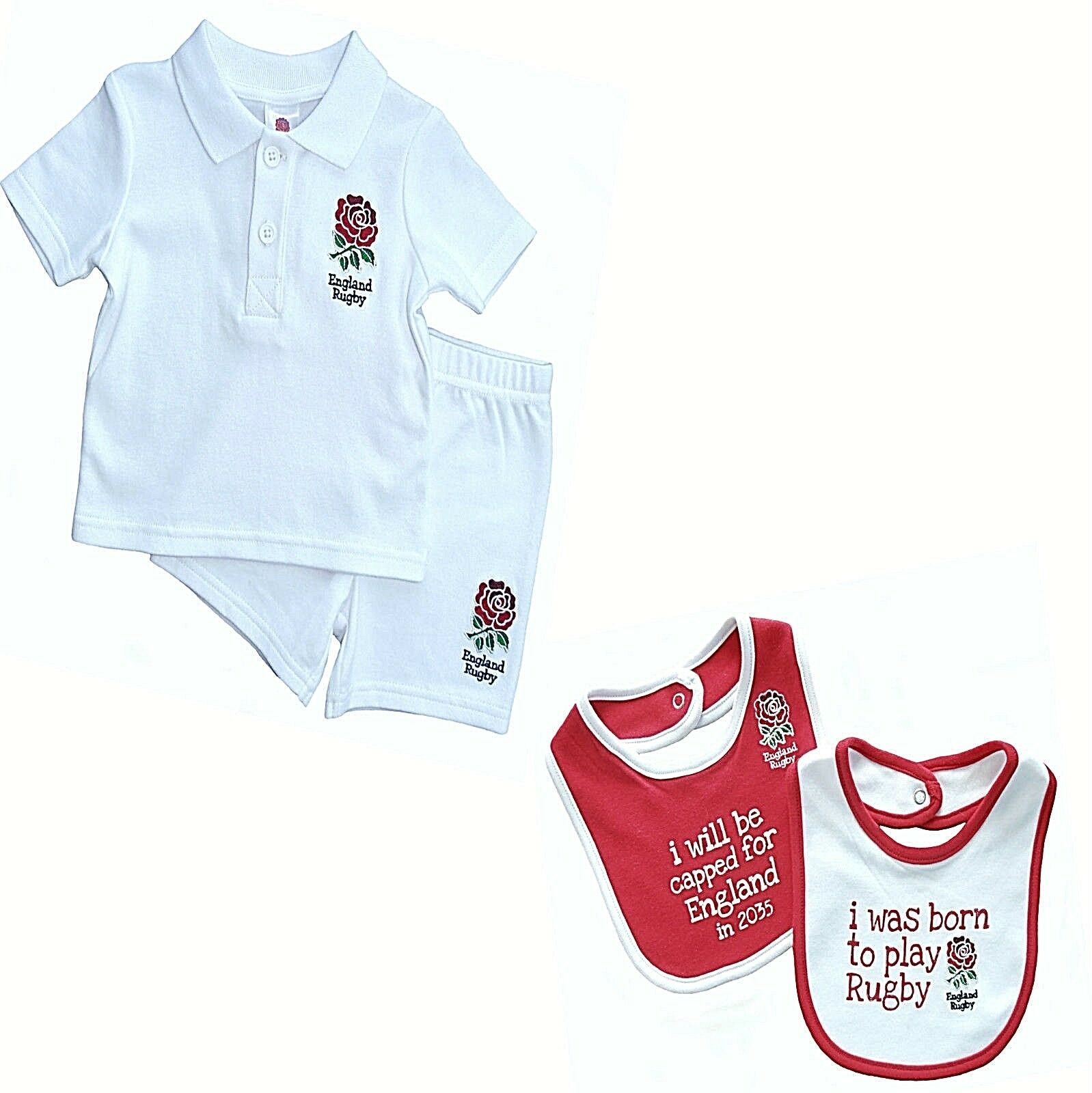 ENGLAND RFU SIX NATIONS RUGBY T SHIRT SHORTS KIT BABY SHORT SLEEVE PRAM SUIT